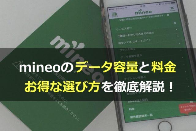 mineo(マイネオ)のデータ容量と料金は?お得な選び方を徹底解説!