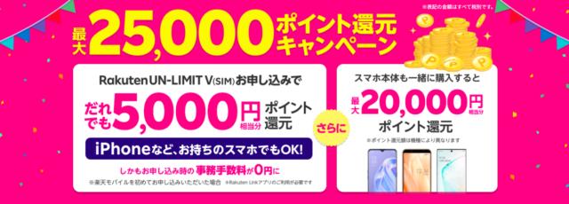【実施中】最大25,000ポイント還元キャンペーン