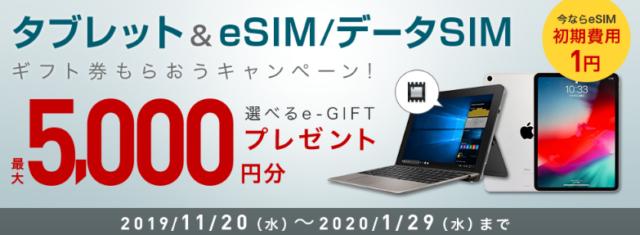 1) eSIMと対象端末の申込みで選べるe-GIFTプレゼント