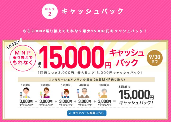 特典②:MNPキャッシュバック(最大15,000円)