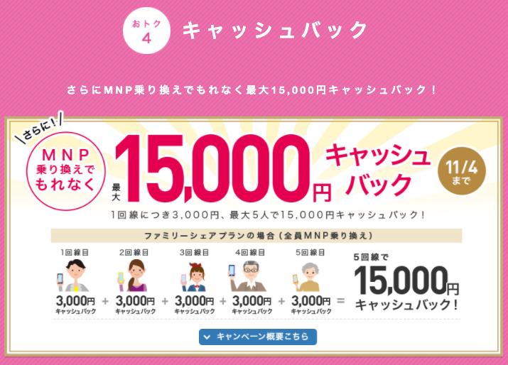 特典③:MNP乗り換えで最大20,000円キャッシュバック ※当サイト限定