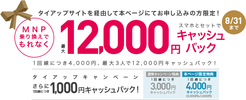 【実施中】MNP乗り換えで最大12,000円キャッシュバック(当サイト限定)
