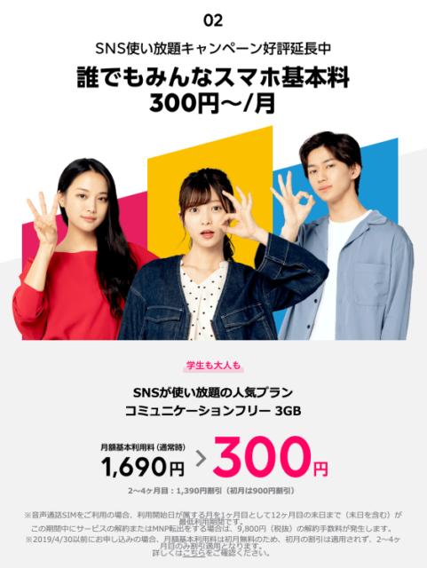 実施中SNS使い放題・新・月300円キャンペーン