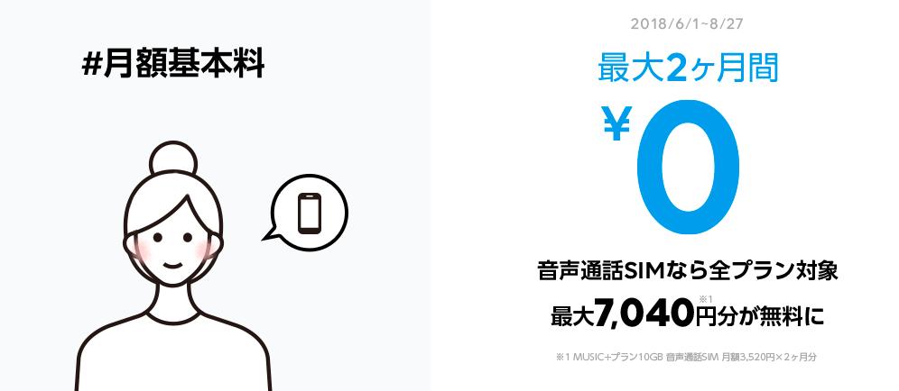 LINEモバイル月額基本料2ヶ月無料キャンペーンの詳細