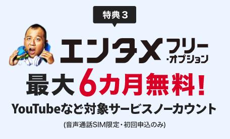 【特典③】大人気のエンタメフリー・オプション6ヶ月間無料