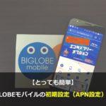 とっても簡単!BIGLOBEモバイルの初期設定(APN設定)