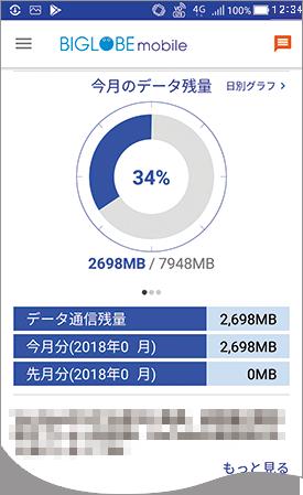 BIGLOBEモバイル公式アプリでできること①:データ残容量の確認